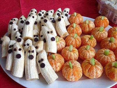 platano y naranja decoración halloween